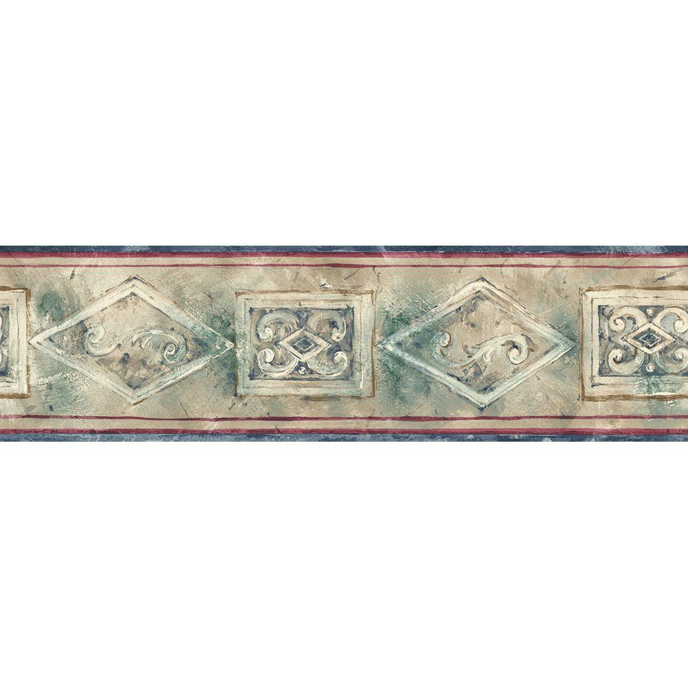 The Wallpaper Company 5.13 in. x 15 ft. Earth Tone Emblem Border-DISCONTINUED