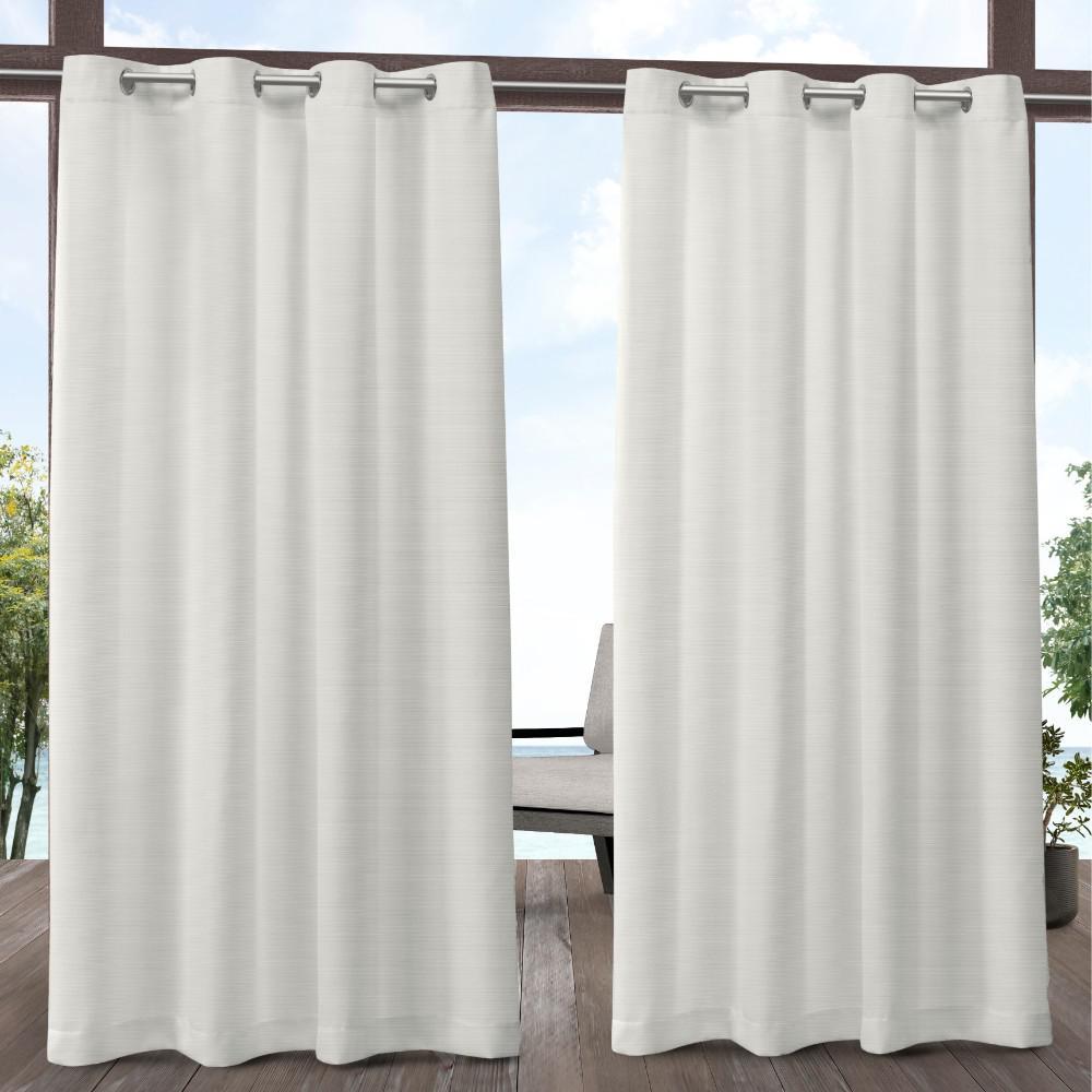 Delano 54 in. W x 96 in. L Indoor Outdoor Grommet Top Curtain Panel in Vanilla (2 Panels)
