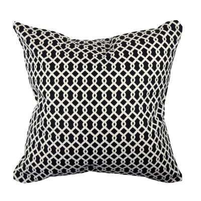 Black Intertwined Diamonds Jacquard Throw Pillow