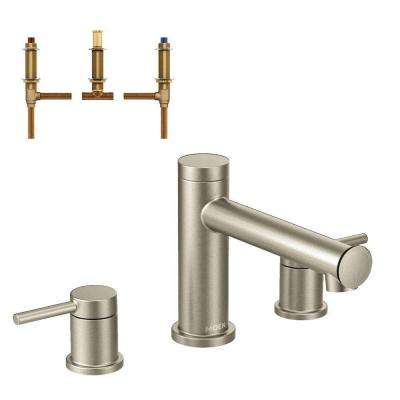 Align 2-Handle Deck Mount Roman Tub Faucet Trim Kit with Valve in Brushed Nickel