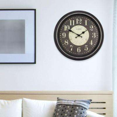 15.75 in. H Black Weathered Plastic Analog Wall Clock