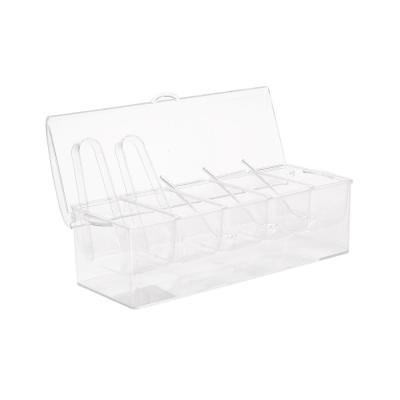 Clear Acrylic 5-Compartment Serving Tray with 3-Tongs and 3-Spoons, Condiment Serving Tray