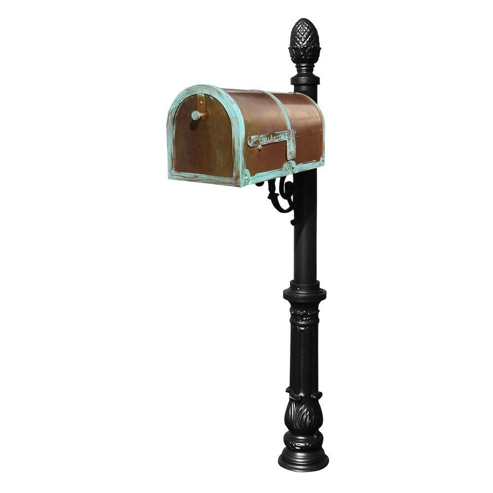 Antique Brass Patina Post Mount Non-Locking Mailbox with Black Lewiston Post