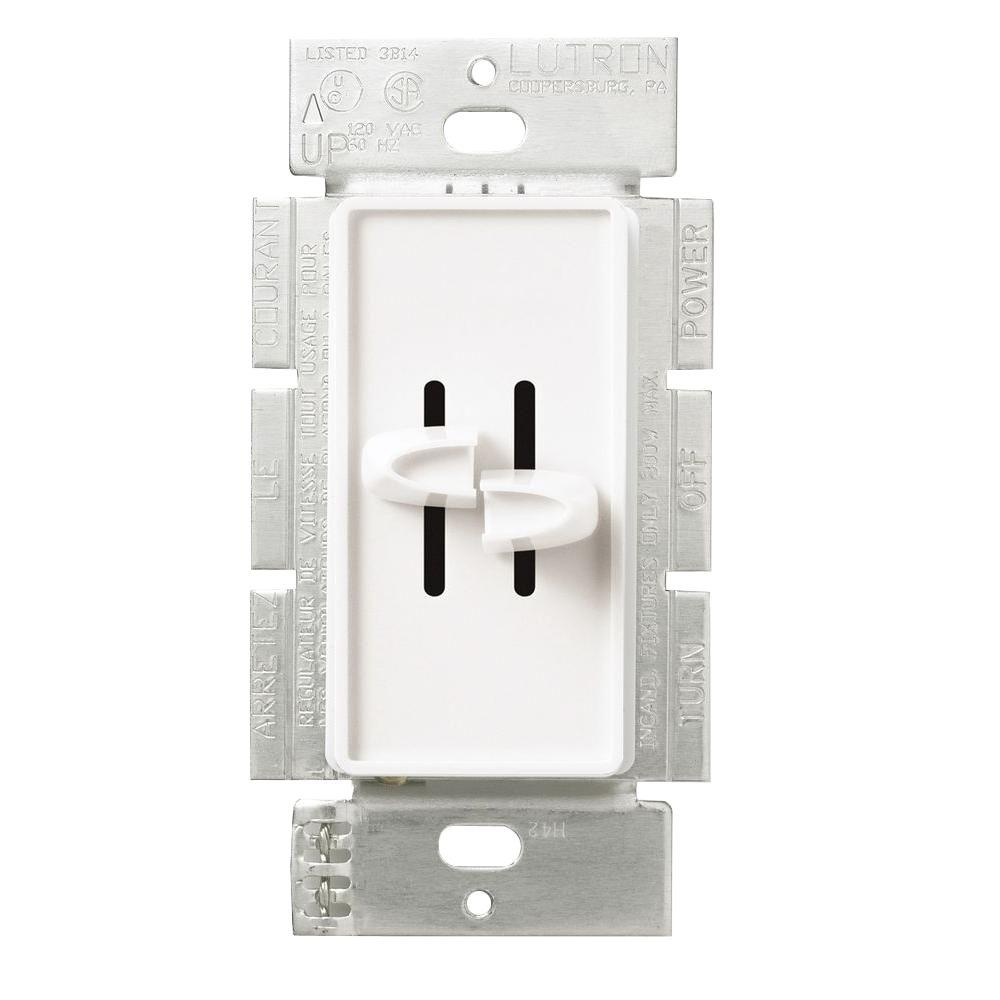 Lutron Skylark 300-Watt Single-Pole Dual Slide to Off Dimmer - White ...