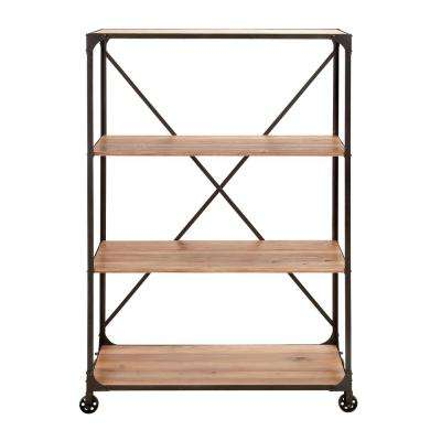 Distressed Wood Mobile Open Bookcase