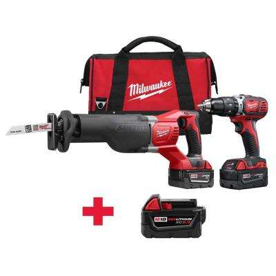 M18 18-Volt Lithium-Ion Cordless Hammer Drill/SAWZALL Combo Kit (2-Tool) W/ Free M18 5.0Ah Battery