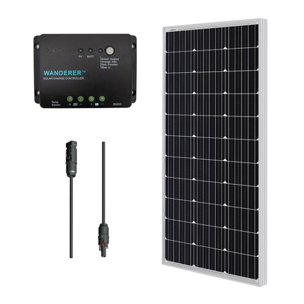 100-Watt 12-Volt Monocrystalline Solar Panel Off-Grid Bundle Kit with 30 Amp Negative Ground Controller