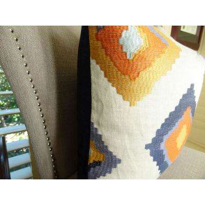 Native Trail Cayenne 26 in. x 26 in. Purple, Orange and White Hypoallergenic Down Alternative Double Sided Throw Pillow