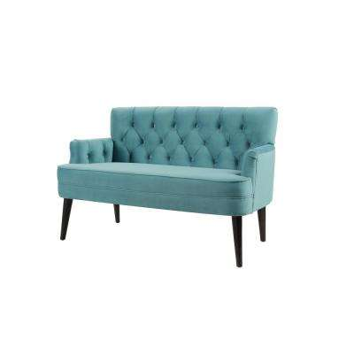 Mia Arctic Blue Tufted Accent Settee