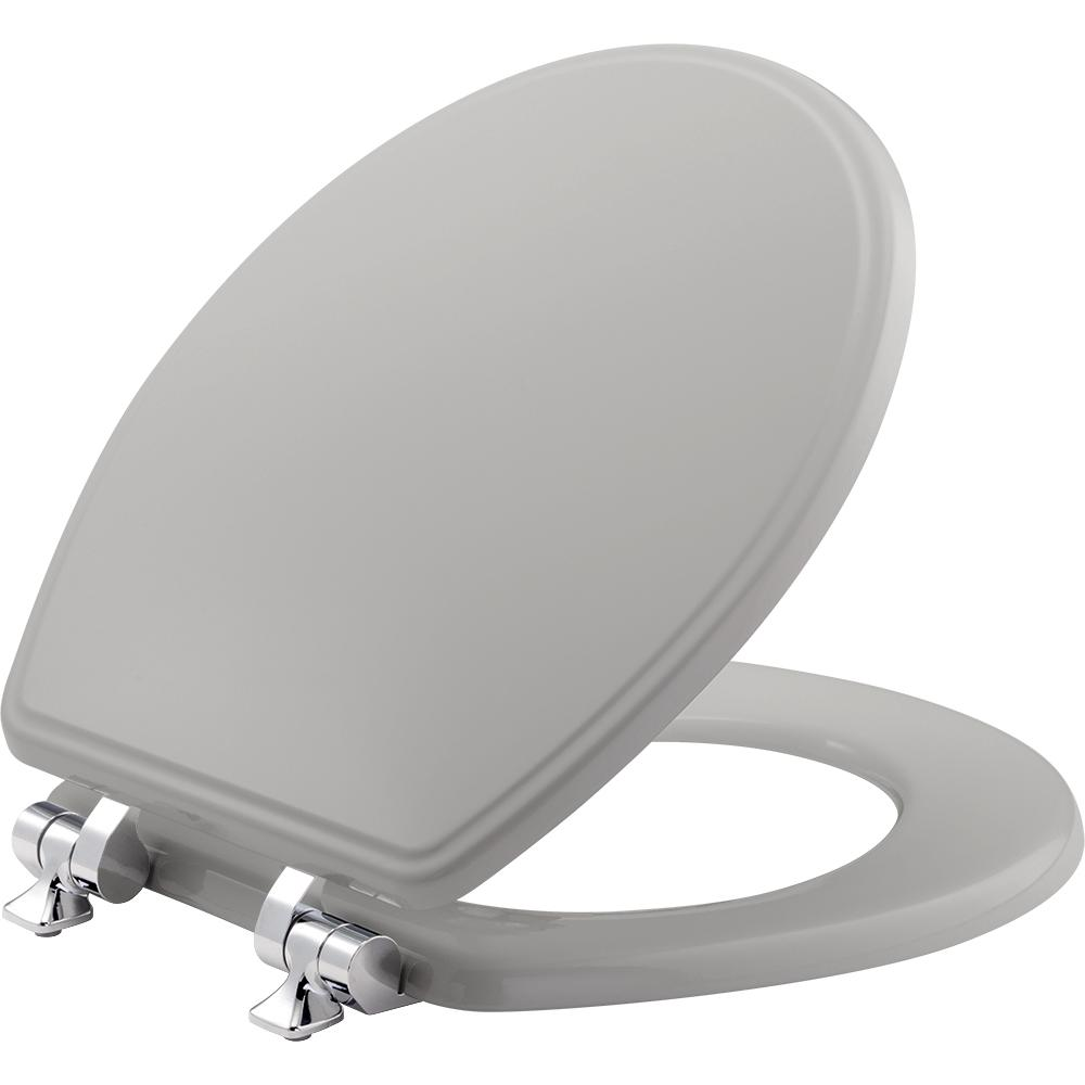 Slow Close Round Closed Front Toilet Seat in Silver