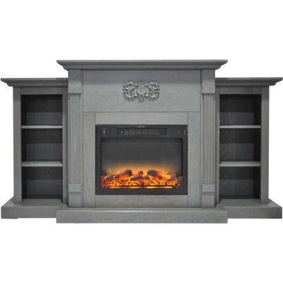 Sanoma 72 in. Electric Fireplace in Gray with Built-in Bookshelves and an Enhanced Log Display