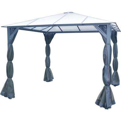 10 ft. x 10 ft. Aluminum Hardtop Gazebo with Polycarbonate Roof Panels, Sunshade Curtains and Mosquito Netting