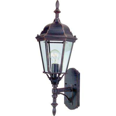Westlake 9.5 in. W 1-Light Rust Patina Outdoor Wall Lantern Sconce
