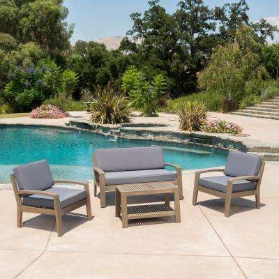 Grenada Grey 4-Piece Wood Patio Conversation Set with Dark Grey Cushions