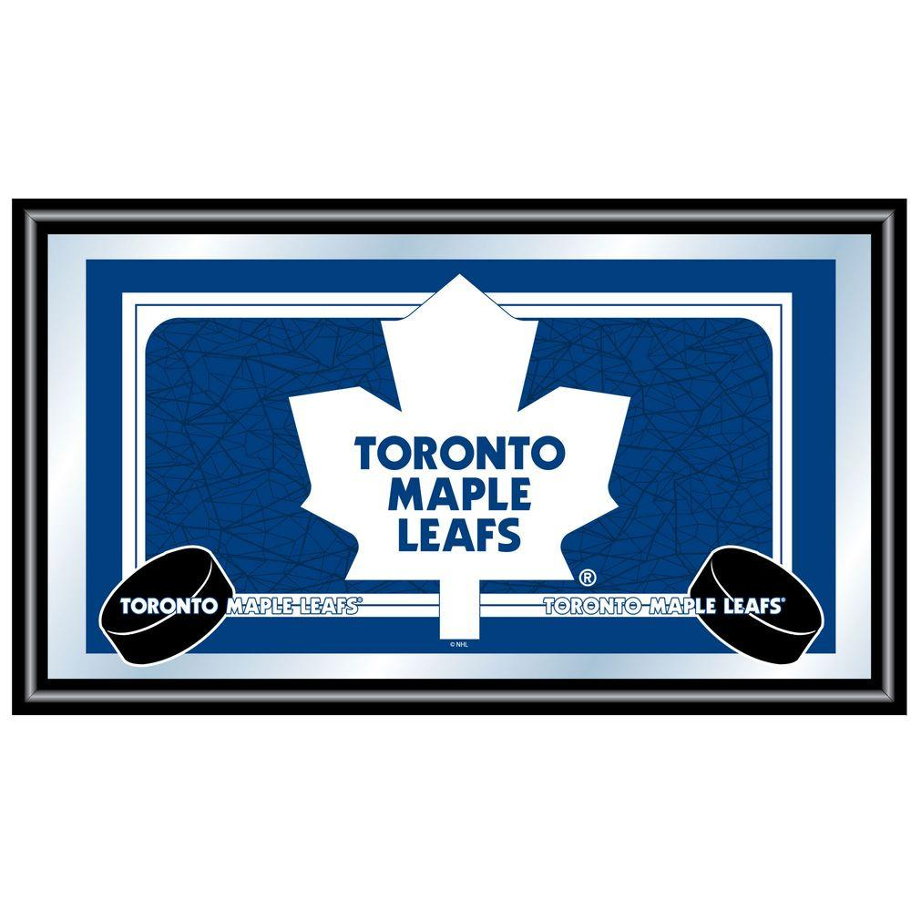 Trademark NHL Toronto Maple Leafs Logo 15 in. x 26 in. Black Wood Framed Mirror