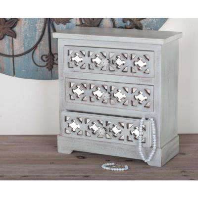 3-Drawer Wood Jewelry Chest in Lattice Patterns