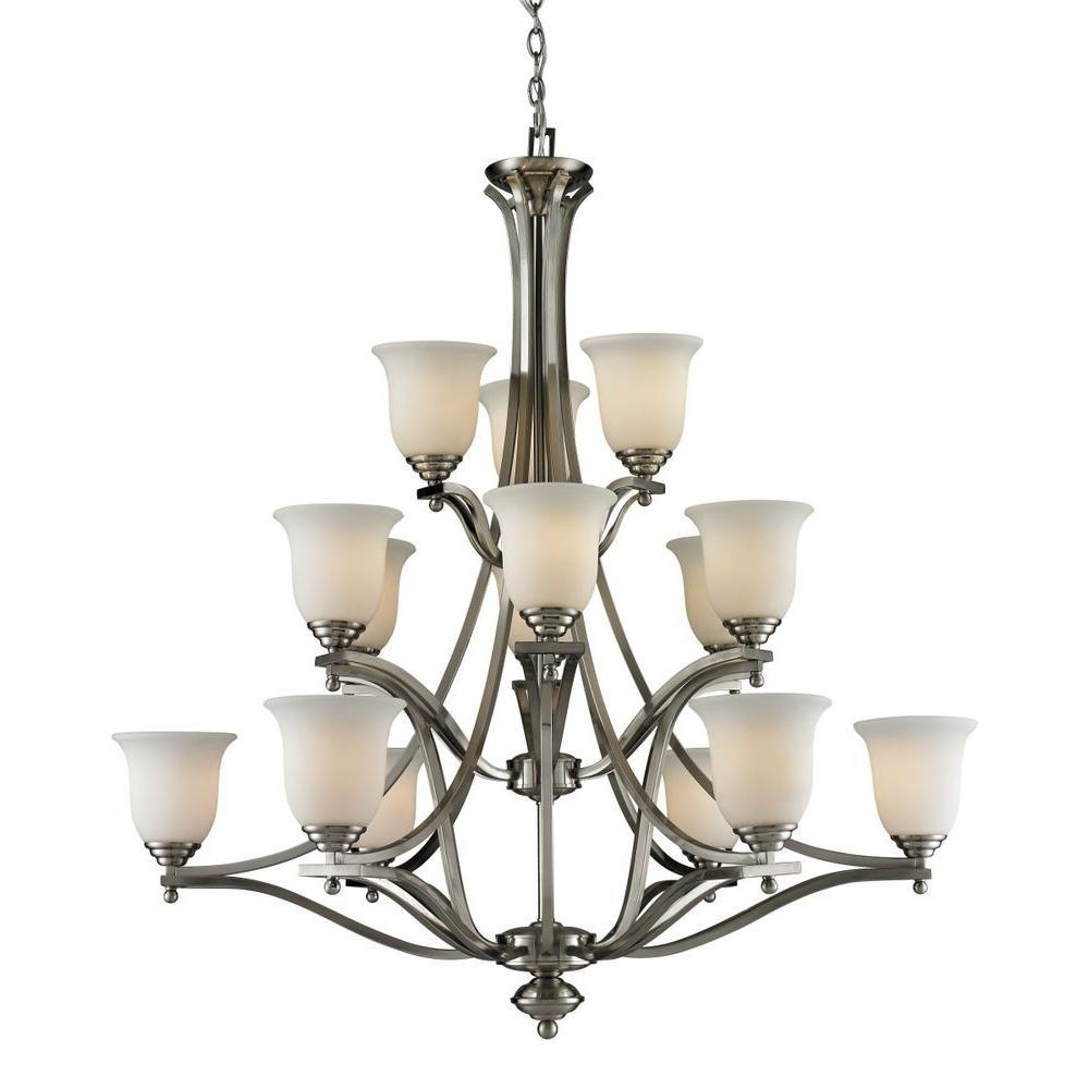 Lawrence 15-Light Brushed Nickel Incandescent Ceiling Chandelier