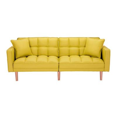 34 in. Yellow Fabric 4-Seater Full Sleeper Sofa Bed with 2-Pillows