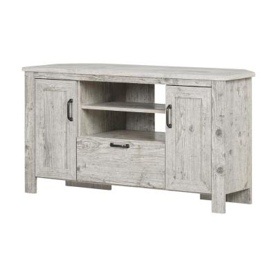 Lionel 48 in. Seaside Pine Particle Board Corner TV Stand Fits TVs Up to 48 in. with Storage Doors