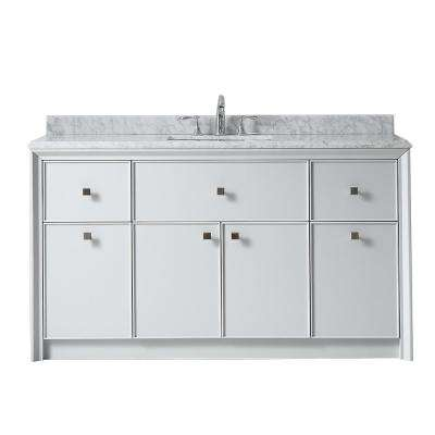 Parrish 60 in. W x 22 in. D Bath Vanity in Dove Grey with Marble Top in Grey/White