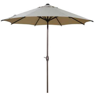 9 ft. Outdoor Table Market Umbrella with Push Button Tilt and Crank Patio Umbrella in Beige