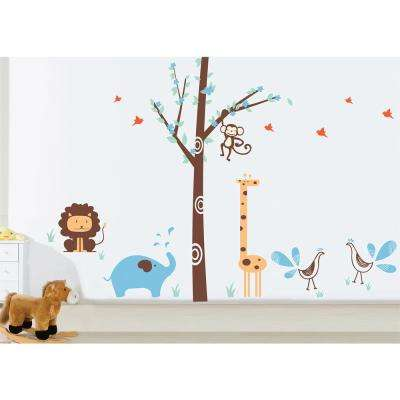 156 in. x 102 in. Orange Giraffe, Light Brown Elephant and Lavender Birds Fantasy Woodland Removable Wall Decal