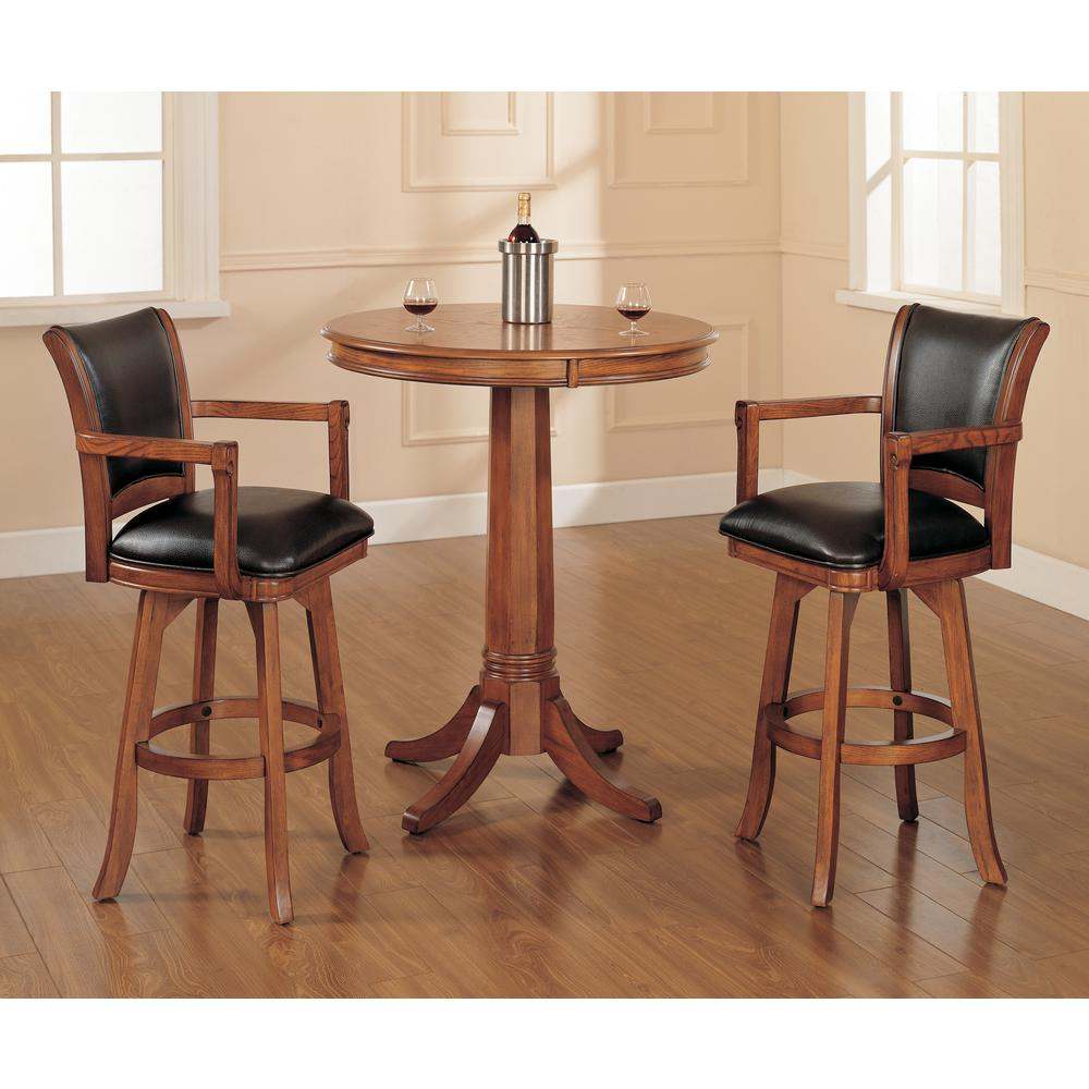 Hillsdale Furniture Park View 26 In Medium Brown Oak Swivel Cushioned Bar Stool 4186 830 The