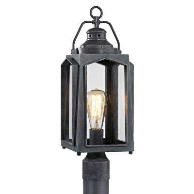 Wrought iron post lighting outdoor lighting the home depot 1 light charred iron outdoor post mount lantern mozeypictures Choice Image