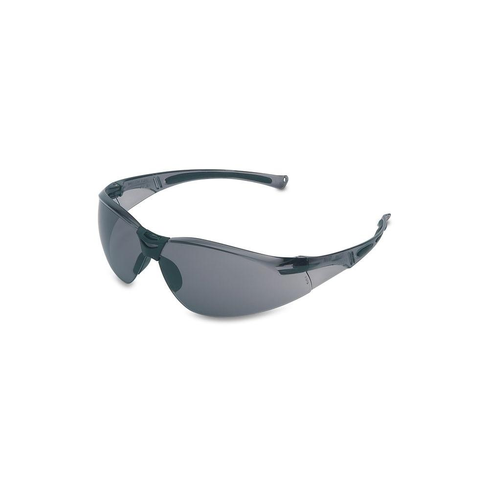 Honeywell A800 Series Wrap-Around Safety Glasses with TSR Gray Tint Hardcoat Lens and Gray Frame