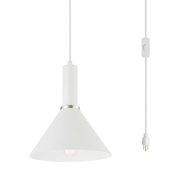 1-Light Matte White Plug-In Pendant Light