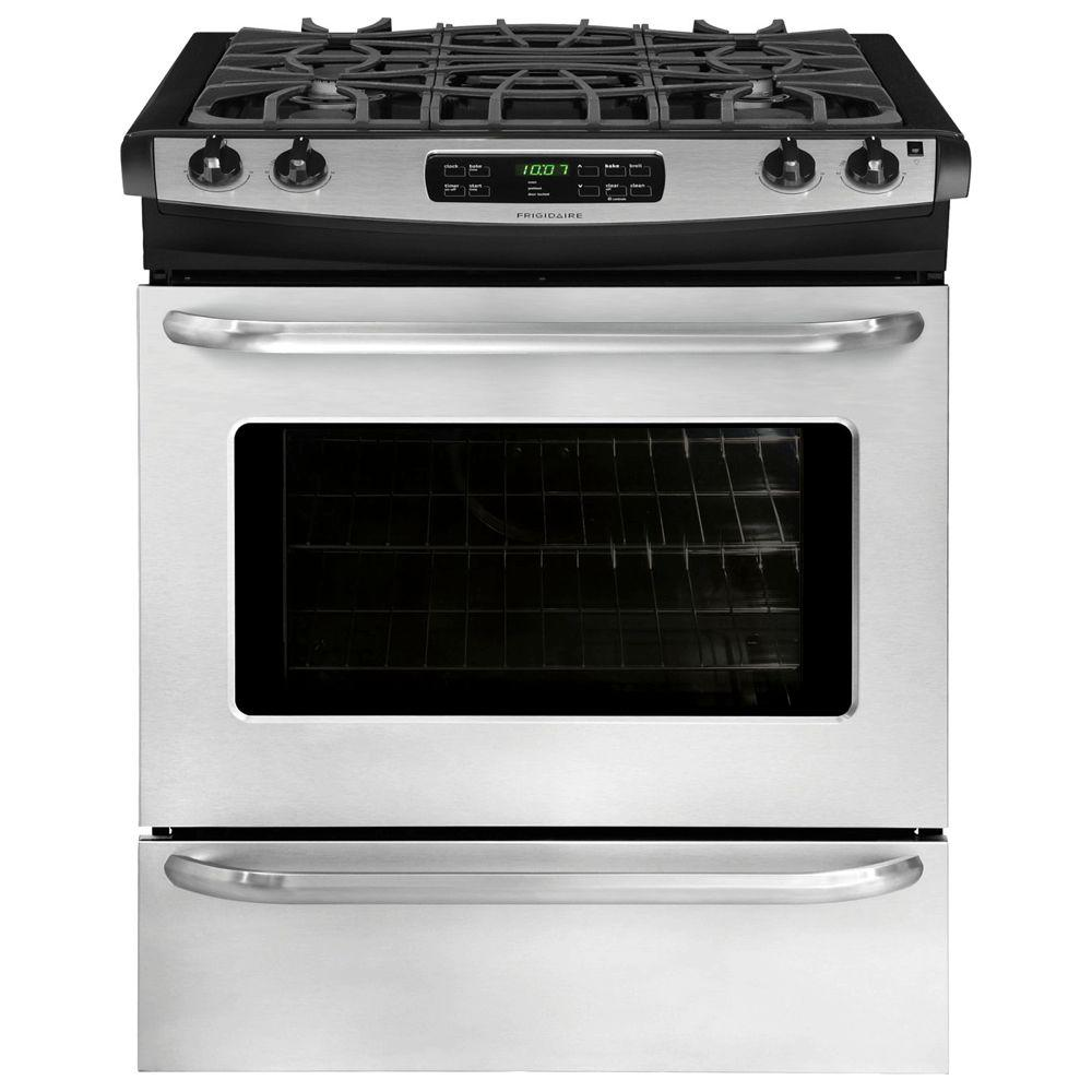 Frigidaire 30 in. 4.6 cu. ft. Slide-In Gas Range with Self-Cleaning Oven in Stainless Steel
