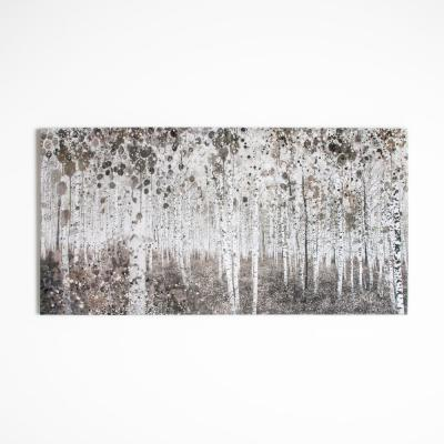 """47 in. x 24 in. """"Neutral Watercolor Wood"""" by Graham and Brown Printed Canvas Wall Art"""