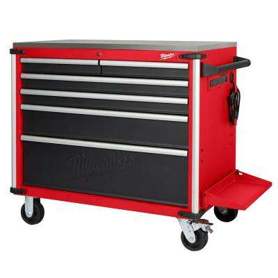 40 in. W x 22.1 in. D 6-Drawer Mobile Workbench with Stainless Steel Top