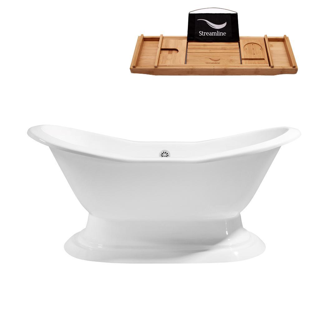 61 in. Cast Iron Flat Bottom Non-Whirlpool Bathtub in White