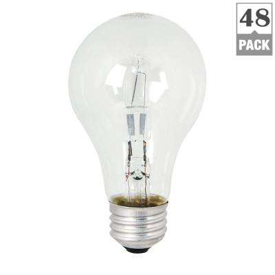53-Watt Equivalent Warm White (3000K) A19 Dimmable Energy Saver Halogen Clear Light Bulb (48-Pack)