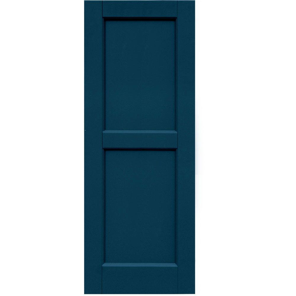 Winworks Wood Composite 15 in. x 40 in. Contemporary Flat Panel Shutters Pair #637 Deep Sea Blue