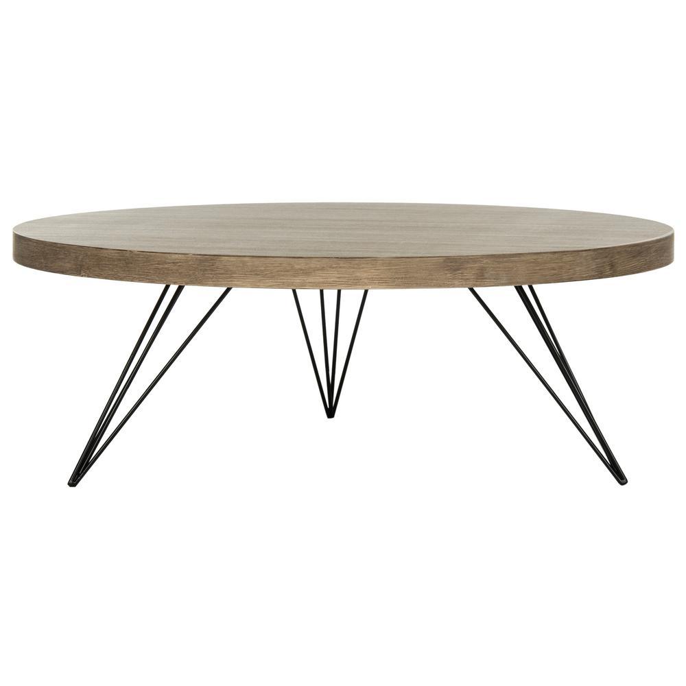 Mansel Light Oak/Black Retro Mid Century Round Coffee Table