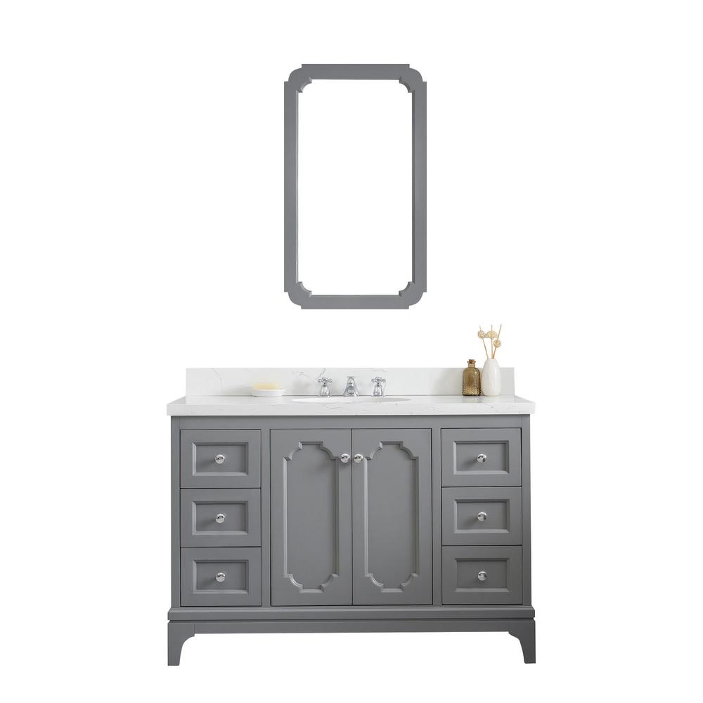 Water Creation Queen 48 in. Cashmere Grey With Quartz Carrara Vanity Top With Ceramics White Basins and Mirror