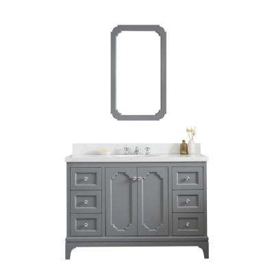 Queen 48 in. Cashmere Grey With Quartz Carrara Vanity Top With Ceramics White Basins and Mirror