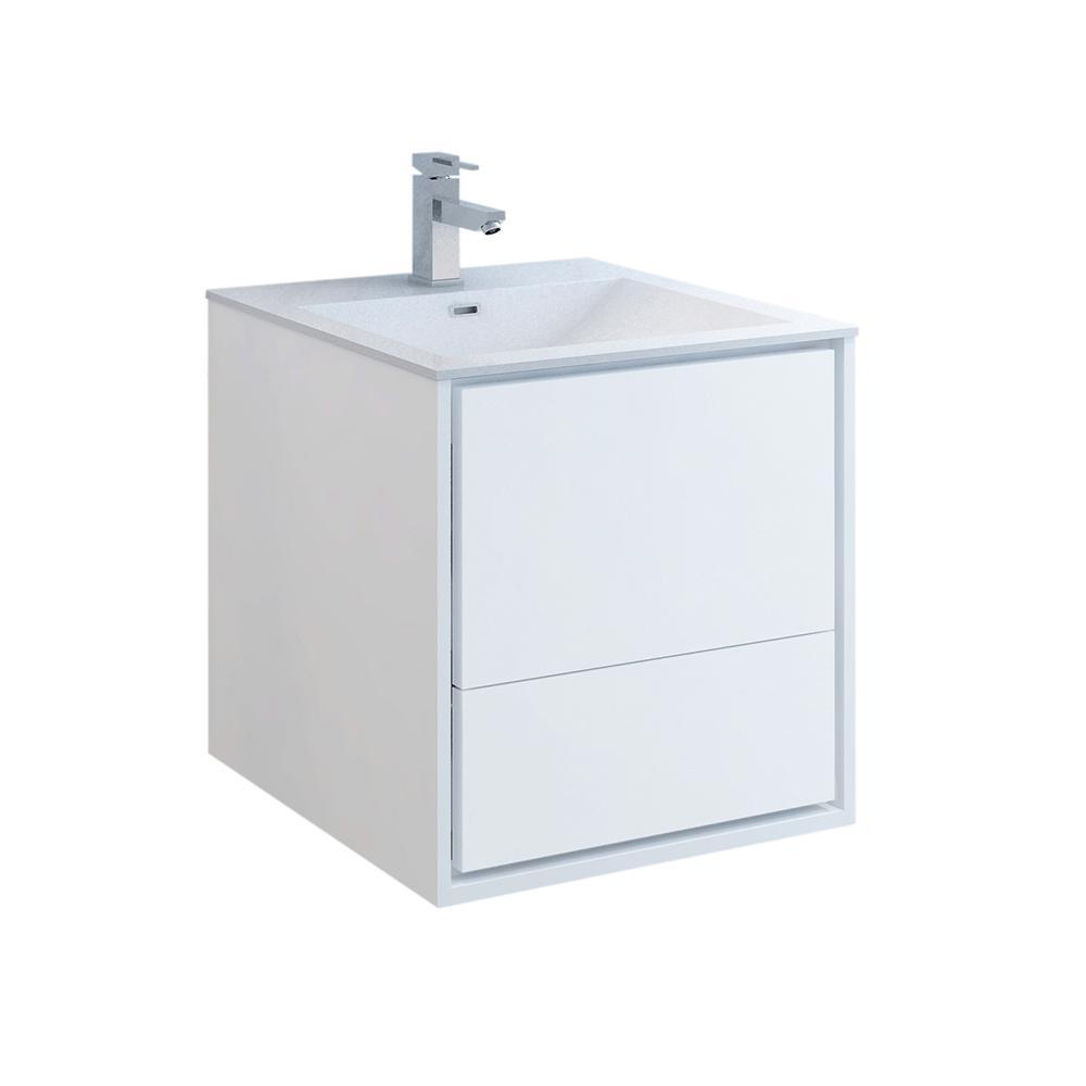 Catania 24 in. Modern Wall Hung Bath Vanity in Glossy White with Vanity Top in White with White Basin
