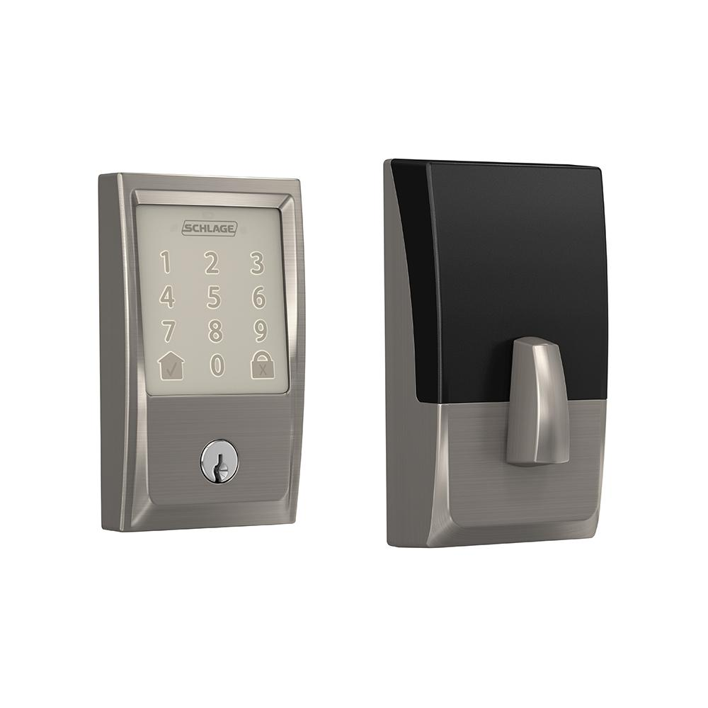 Schlage Century Encode Smart Wifi Door Lock with Alarm in Satin Nickel