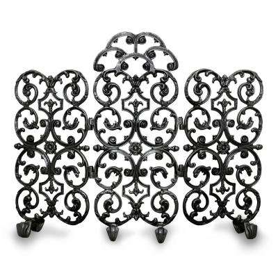 Avalon Matte Black 3-Panel 46 in. W Fireplace Screen with Arch