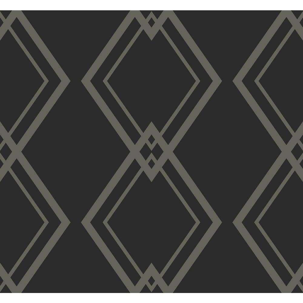 Seabrook Designs Diamond Link Metallic Silver And Black Geometric