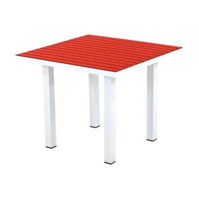 Euro Satin White/Sunset Red 36 in. Square Patio Dining Table