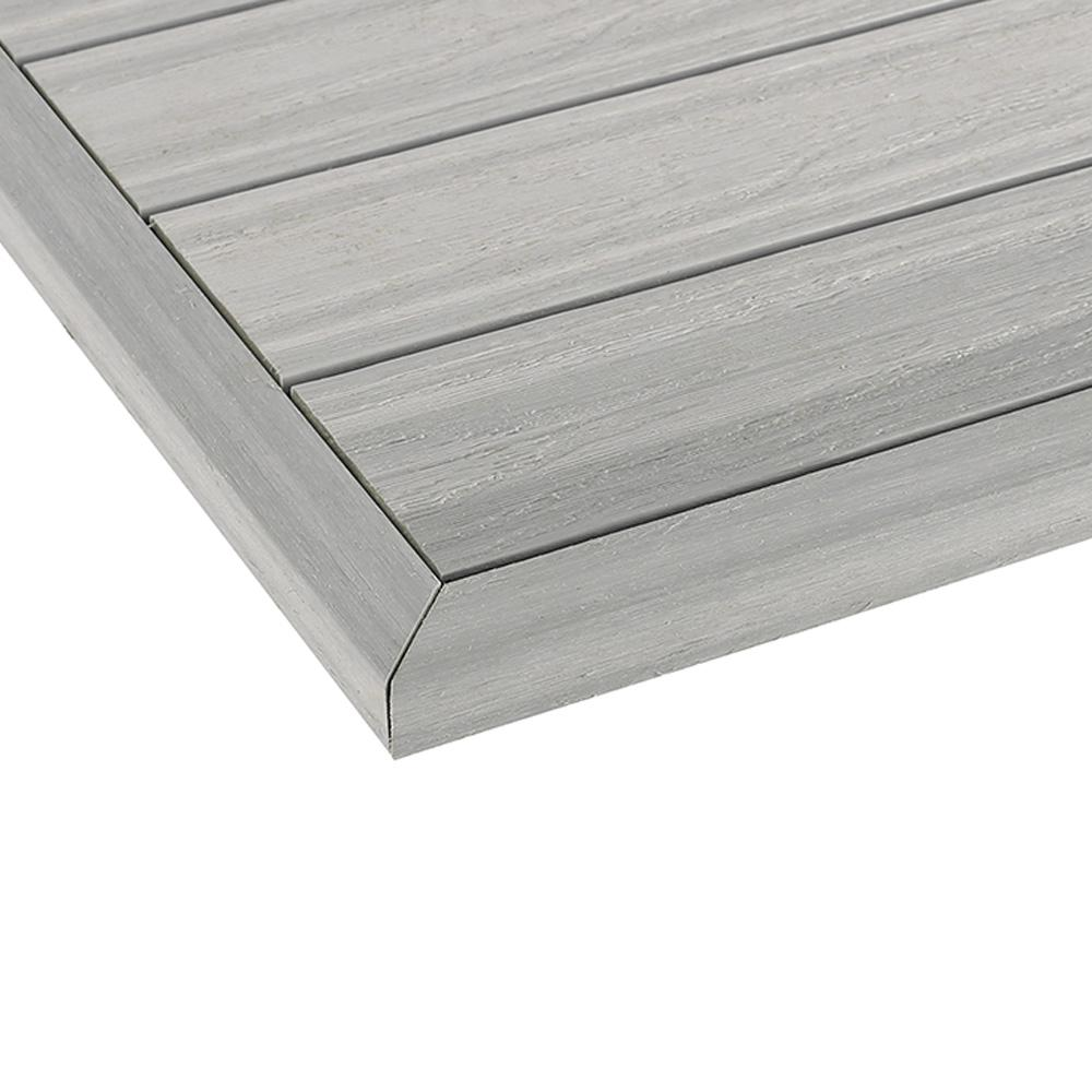 NewTechWood 1/12 ft. x 1 ft. Quick Deck Composite Deck Tile Outside Corner Fascia in Icelandic Smoke White (2-Pieces/Box)