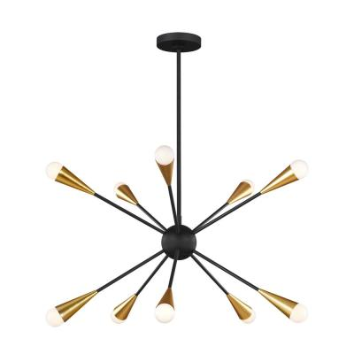 ED Ellen DeGeneres Crafted by Generation Lighting Jax 27.25 in. W 10-Light Matte Black Chandelier with Swivel Canopy