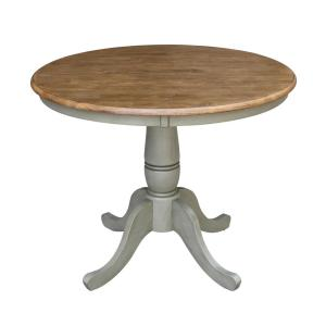 36 in. Hickory/Stone Solid Wood Round Top Dining Table