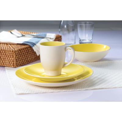 16-Piece Casual Yellow & Cream Ceramic Dinnerware Set (Service for 4)