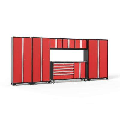 Bold 3.0 77.25 in. H x 174 in. W x 18 in. D 24-Gauge Welded Steel Garage Cabinet Set in Red (7-Piece)