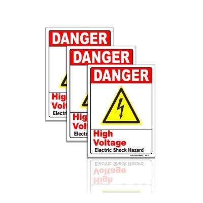 5 in. x 6.5 in. Danger High Voltage Electrical Shock Hazard Sign Stickers (3-Pack)